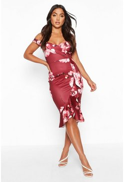 Womens Berry Off The Shoulder Frill Hem Floral Midi Dress