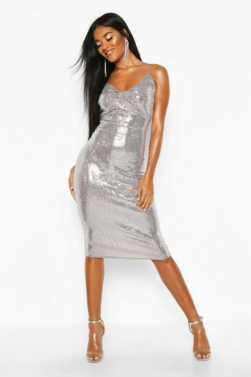 Silver Metallic Sequin Bow Midi Bodycon Dress