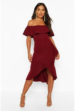 Womens Berry Off The Shoulder Ruffle Midi Dress