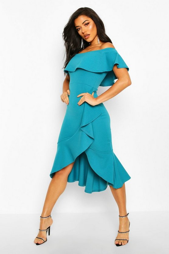 Teal Off The Shoulder Ruffle Midi Dress