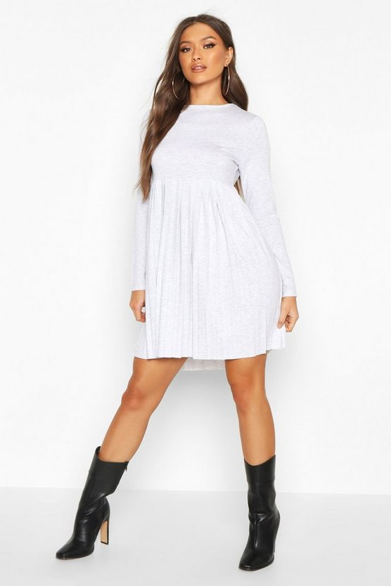 Grey marl Long Sleeve Pleated Smock Dress