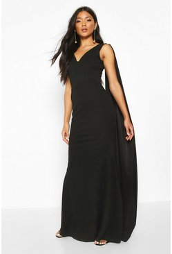 Womens Black One Shoulder Caped Maxi Dress