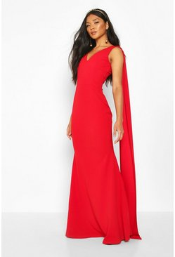 One-Shoulder Maxikleid mit Cape, Rot, Damen