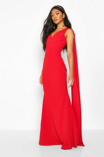 Womens Red One Shoulder Caped Maxi Dress
