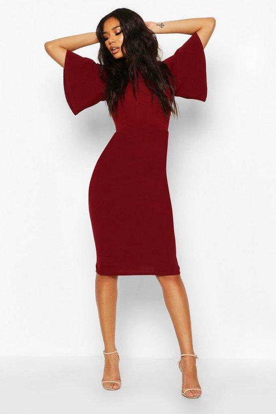 V Back Detail Midi Dress