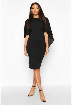 Black Caped Crew Neck Midi Dress