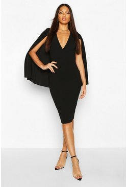 Black Caped Wrap Midi Dress
