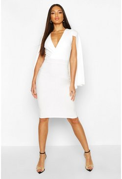 White Caped Wrap Midi Dress