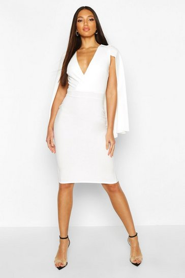Womens White Caped Wrap Midi Dress