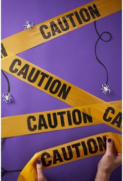Womens Orange Halloween Caution Tape