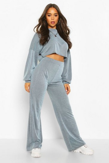 Womens Denim-blue Cropped Slouchy Rib Top & Trouser Co-ord