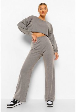 Womens Stone Cropped Slouchy Rib Top & Trouser Co-ord