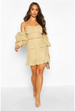Womens Stone Suedette Pocket Ruffle Hem Mini Skirt