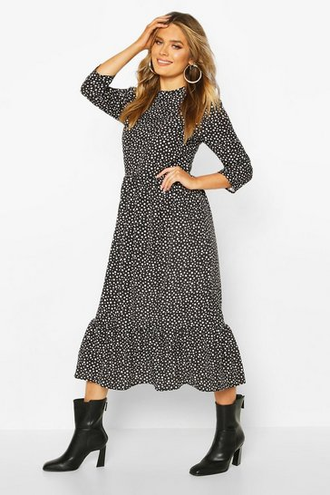 Black Woven Mixed Spot Dress