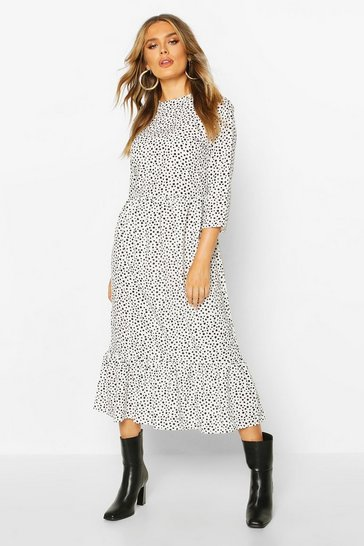 White Woven Mixed Spot Dress