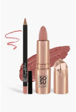 Womens Mauve SOSU Lip Kit - Birthday Suit