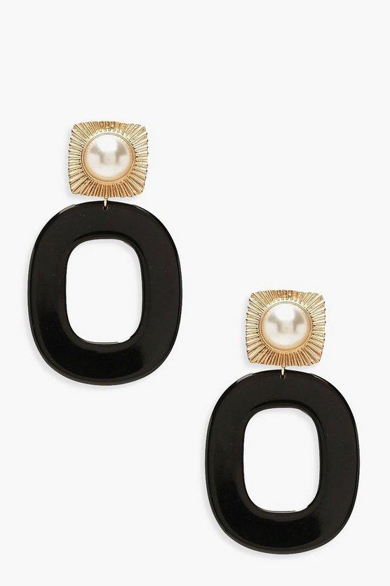 Pearl Stud Black Resin Earrings