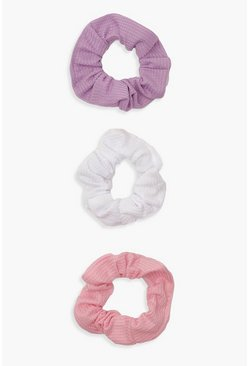 Womens Pink 3 Pack Scrunchies