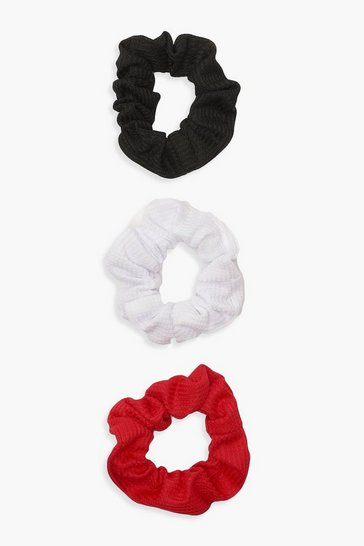 Womens Red 3 Pack Scrunchies