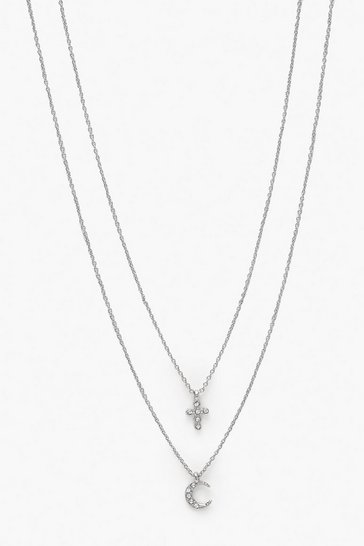 Womens Silver Diamante Cross & Moon Necklace Pacl