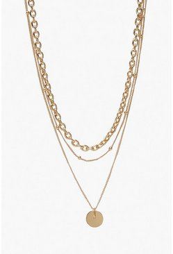 Gold Coin & Chain Layered Necklace