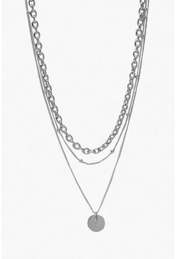 Womens Silver Coin & Chain Layered Necklace