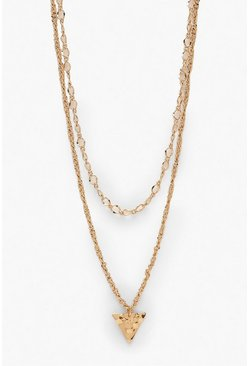 Womens Gold Triangle Double Chain Necklace