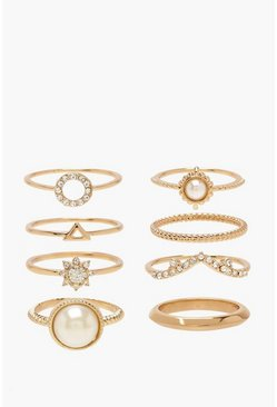 Womens Gold Pearl & Diamante Simple Ring Pack