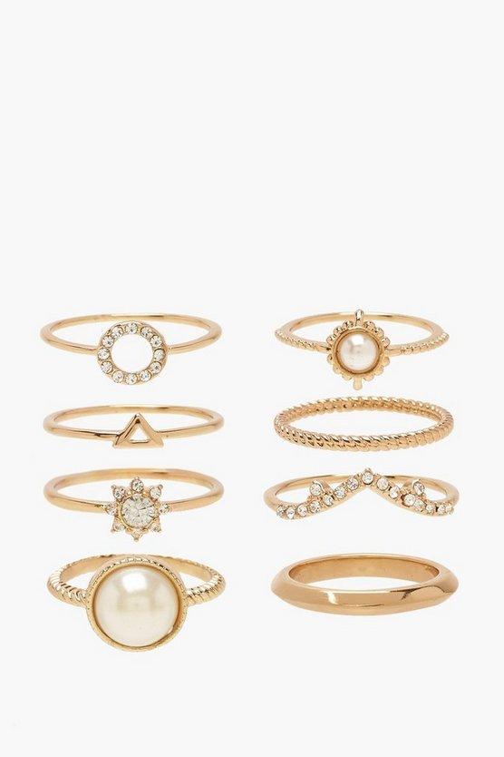 Pearl & Diamante Simple Ring Pack