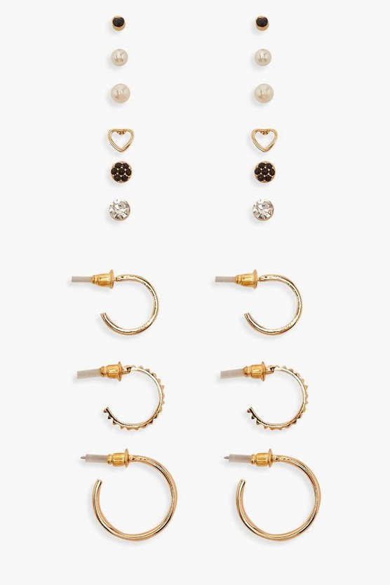 Gold Mixed Stud & Hoop Earring Pack