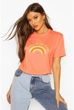 Womens Orange Honeys Makin' Money Slogan T-shirt