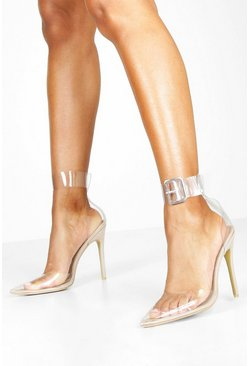 Womens Nude Buckle Strap Clear Pointed Toe Court Shoes