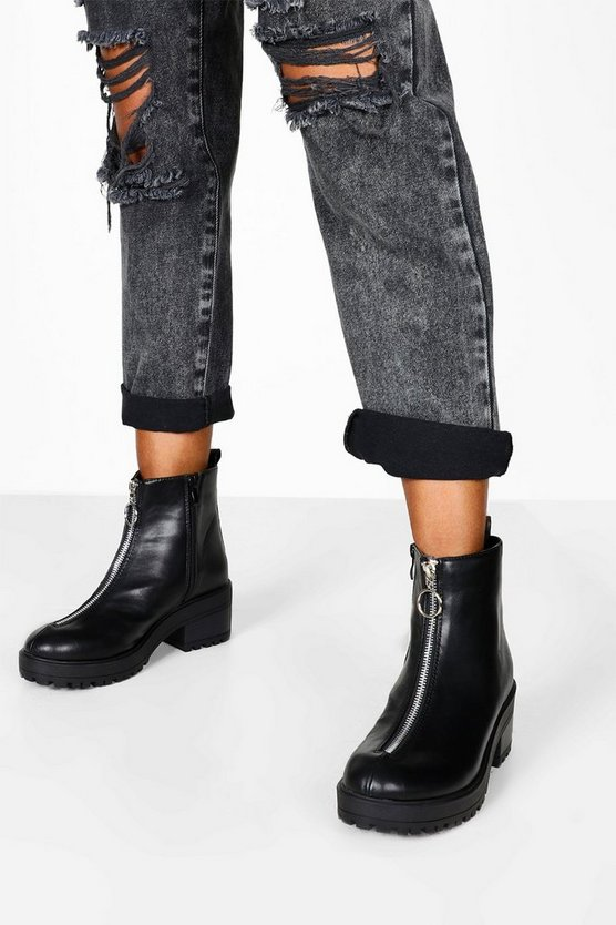 O Ring Zip Front Chunky Hiker Boots by Boohoo