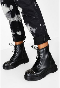 Womens Black Stud Detail Lace Up Chunky Hiker Boots