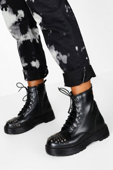 Black Stud Detail Lace Up Chunky Hiker Boots