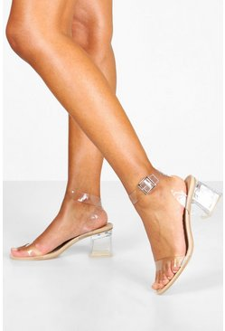 Womens Nude Clear Strap Low Block Heel 2 Parts