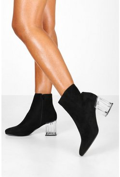 Womens Black Clear Low Block Heel Shoe Boots