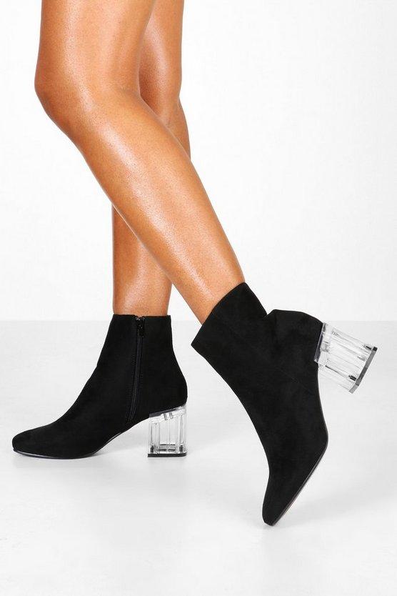 Clear Low Block Heel Shoe Boots