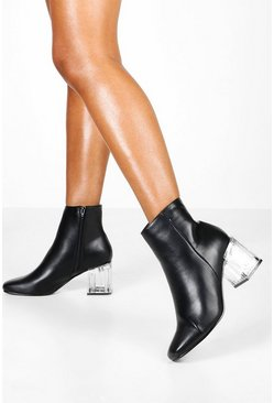 Dam Black Clear Low Heel Shoe Boots