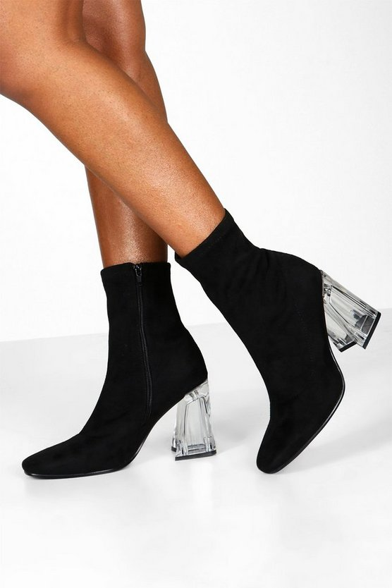 Clear Flare Heel Sock Boots