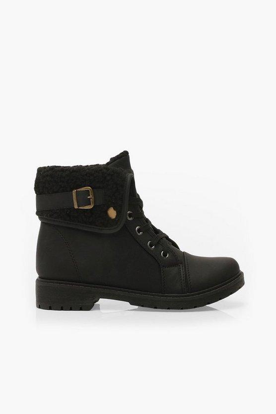 Shearling Cuff Hiker Boots