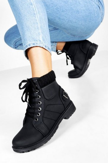 Womens Black Lace Up Hiker Boots