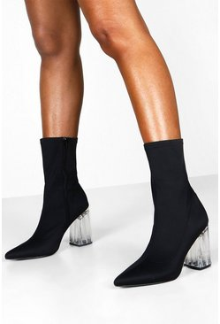 Womens Black Clear Heel Sock Boots