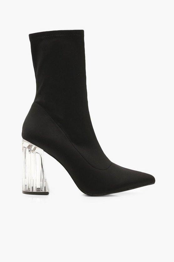 Clear Heel Sock Boots