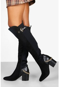 Womens Black Croc Panel Block Heel Knee Boots
