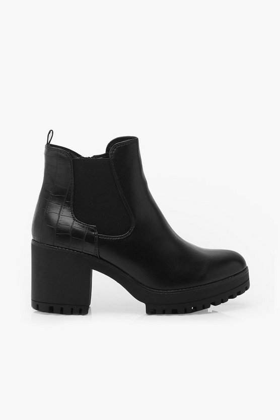 Croc Panel Chunky Cleated Chelsea Boots