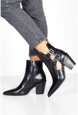 Black Stud Cut Out Western Boots