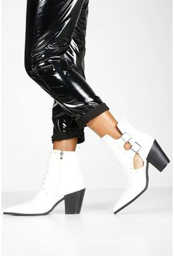 Womens White Stud Cut Out Western Boots