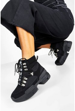 Womens Black Reflective Stripe Chunky Hiker Trainers