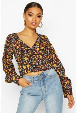 Womens Black Ditsy Floral Button Blouse